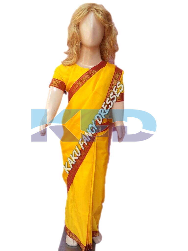 Saree In Yellow Color,Indian State Traditional Costume For School Annual function/Theme Party/Competition/Stage Shows/Birthday Party Dress