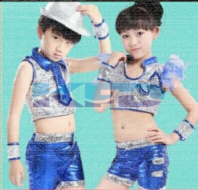 Blue Silver Lycra Girl Western Dance Costume For Kids/School Annual function/Theme Party/Competition/Stage Shows/Birthday Party Dress