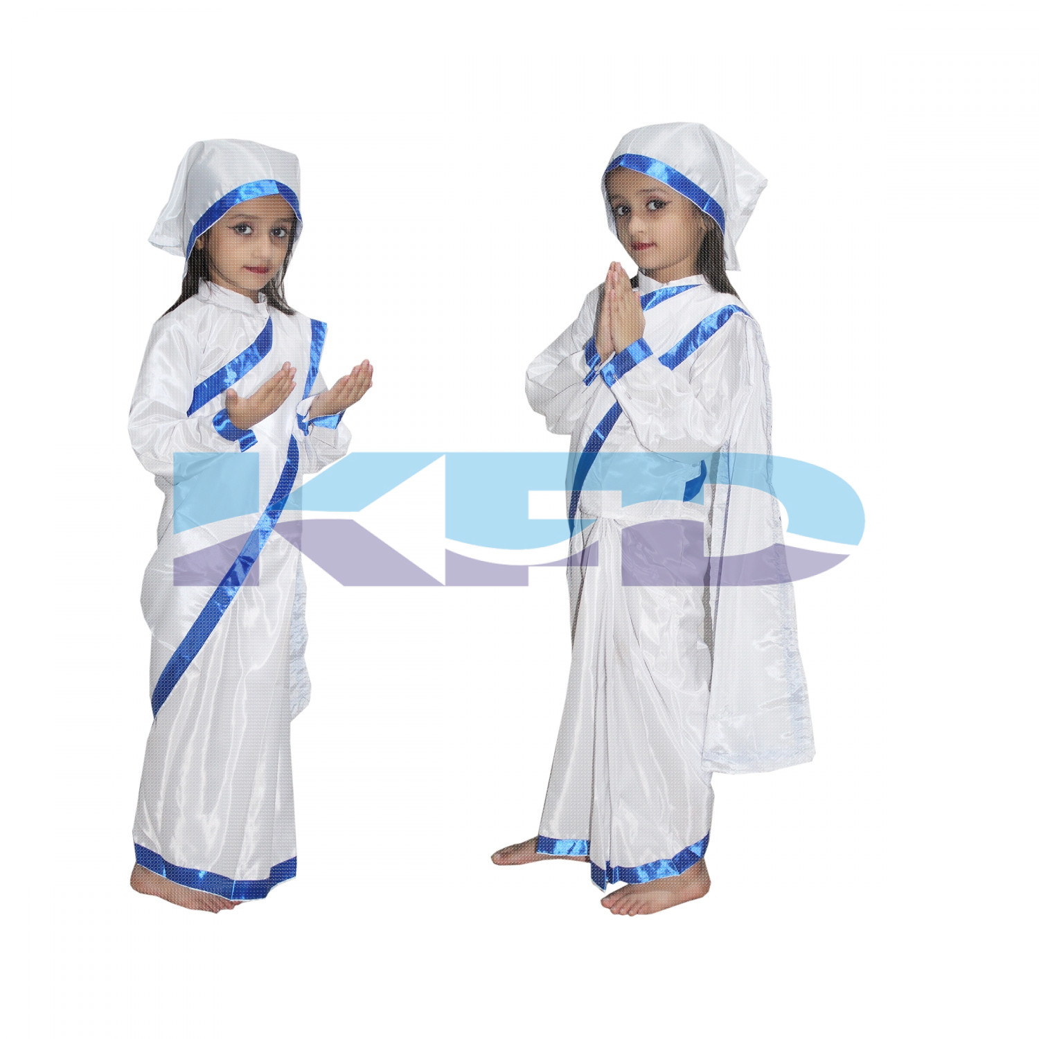 Mother Teresa fancy dress for kids,National Hero Costume for School Annual function/Theme Party/Competition/Stage Shows Dress