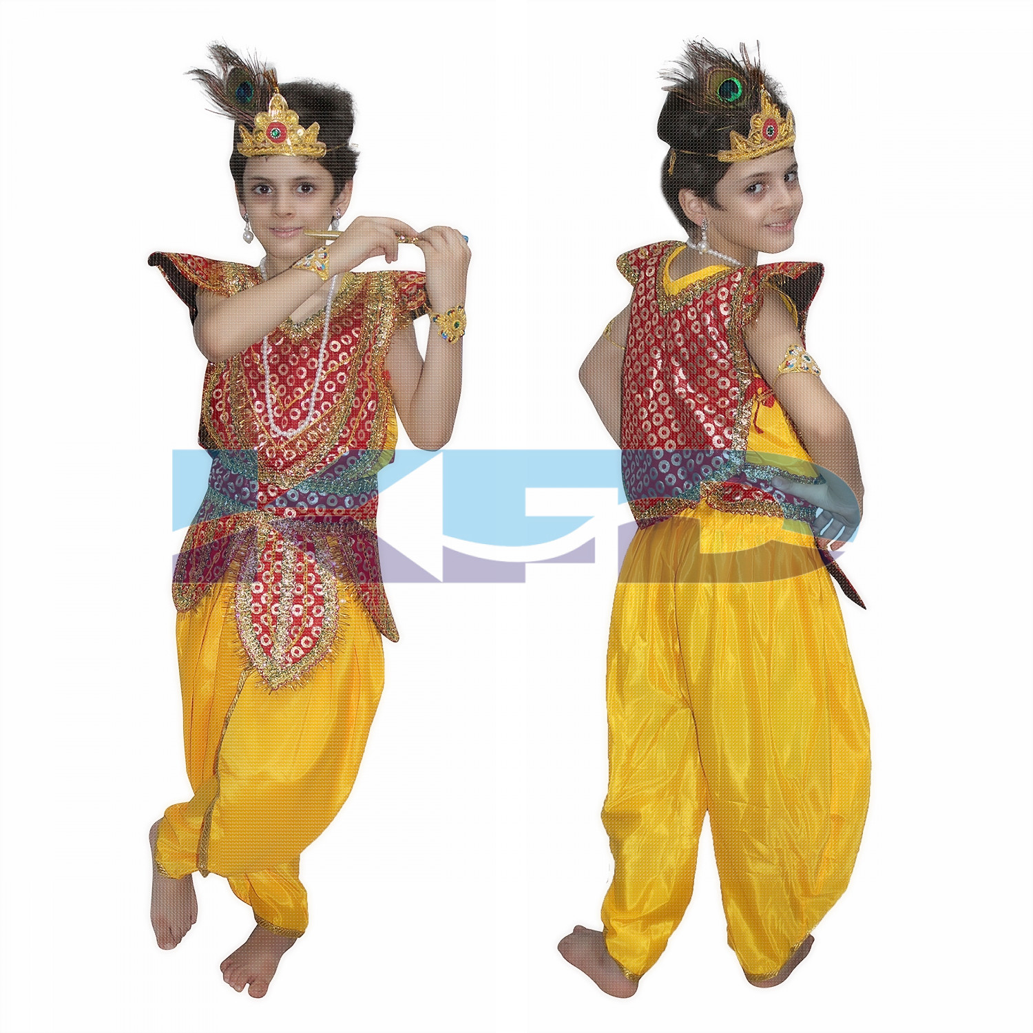 Lord Krishna fancy dress for kids,Krishnaleela/Janmashtami/Kanha/Mythological Character for Annual function/Theme Party/Competition/Stage Shows Dress