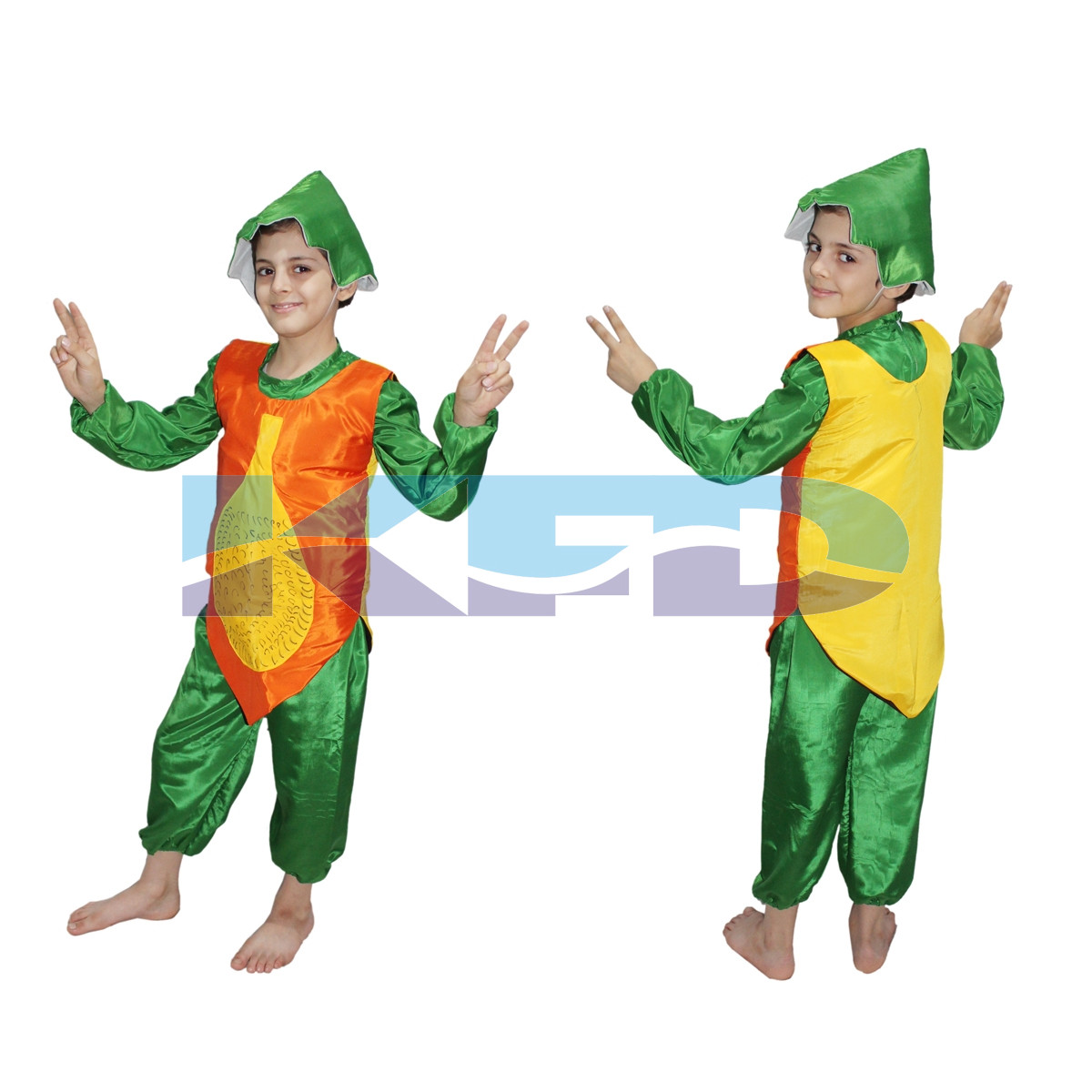 Papaya fancy dress for kids,Fruits Costume for School Annual function/Theme Party/Competition/Stage Shows Dress