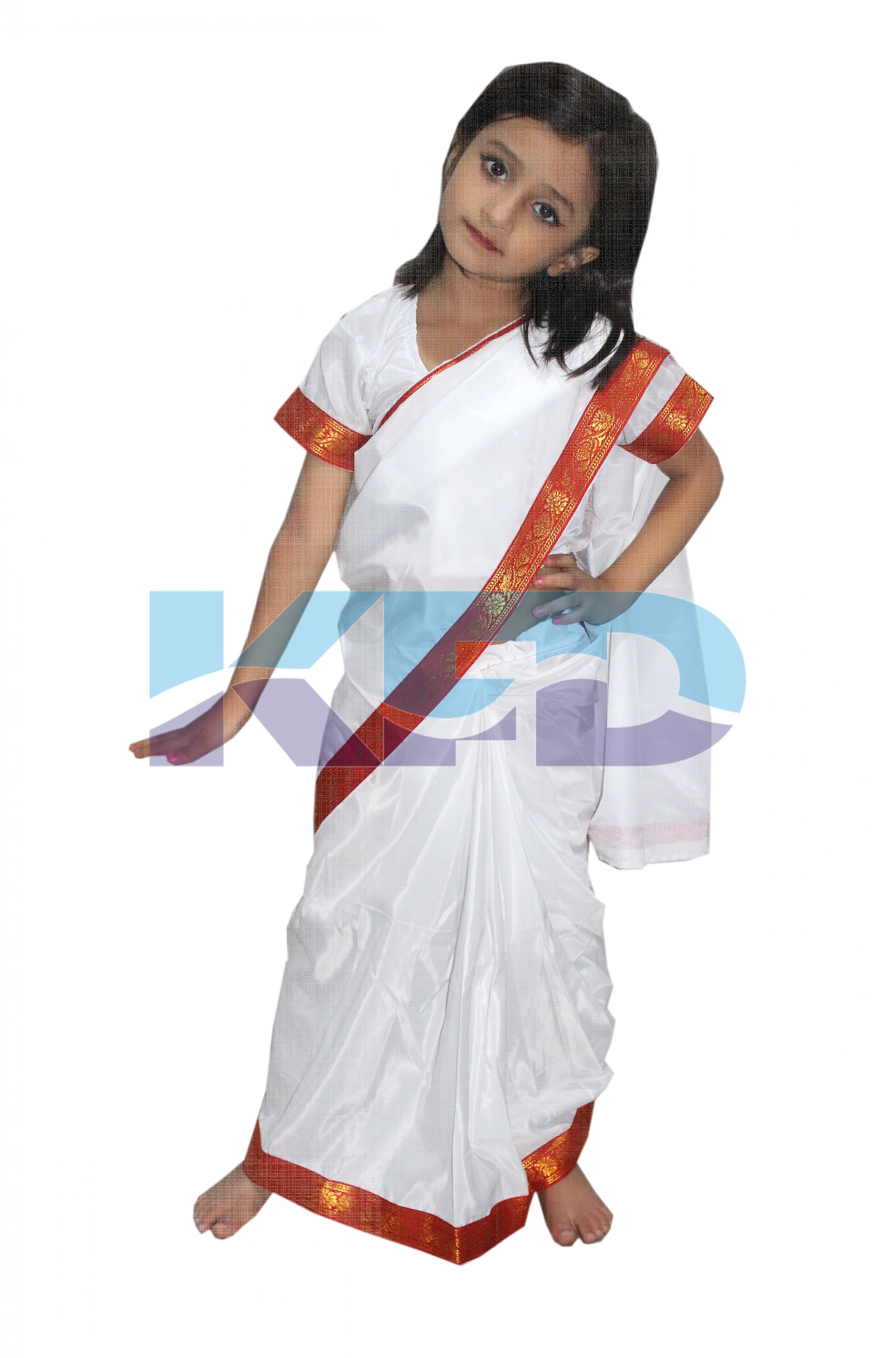 Teacher White Saree fancy dress for kids,Our Helper Costume for Annual function/Theme Party/competition/Stage Shows Dress