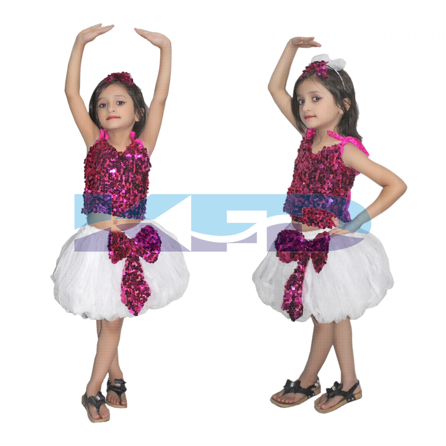 Magenta Silver Skirt Top Set Western Dance Dress For kids,Costume For School Annual function/Theme Party/Competition/Stage Shows Dress/Birthday Party Dress