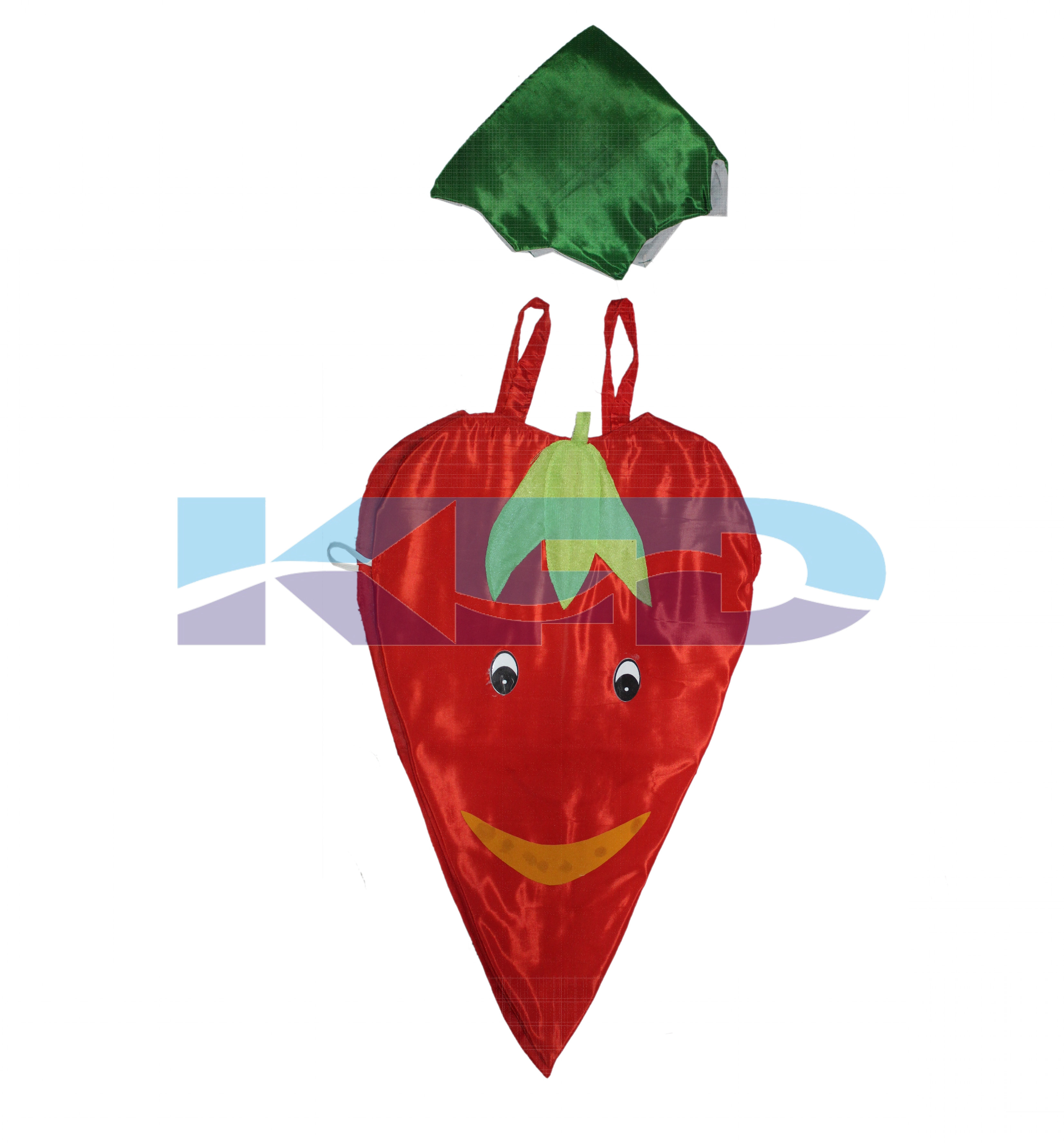 Red Chilly Vegetables Costume only cutout with Cap for Annual function/Theme Party/Competition/Stage Shows/Birthday Party Dress