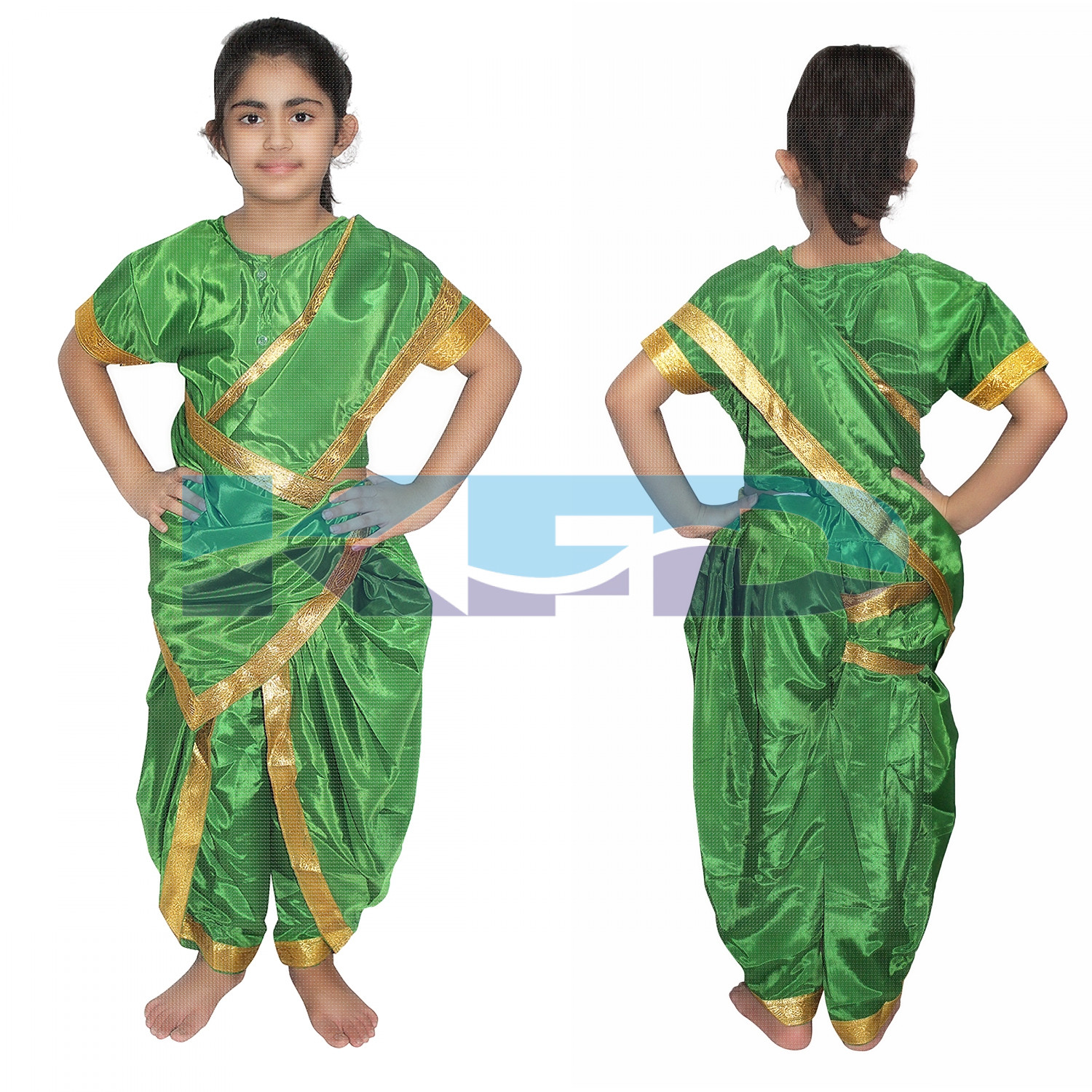 Marathi Girl Green Indian State Traditional Wear Costume For School Annual function/Theme party/Competition/Stage Shows/Birthday Party Dress