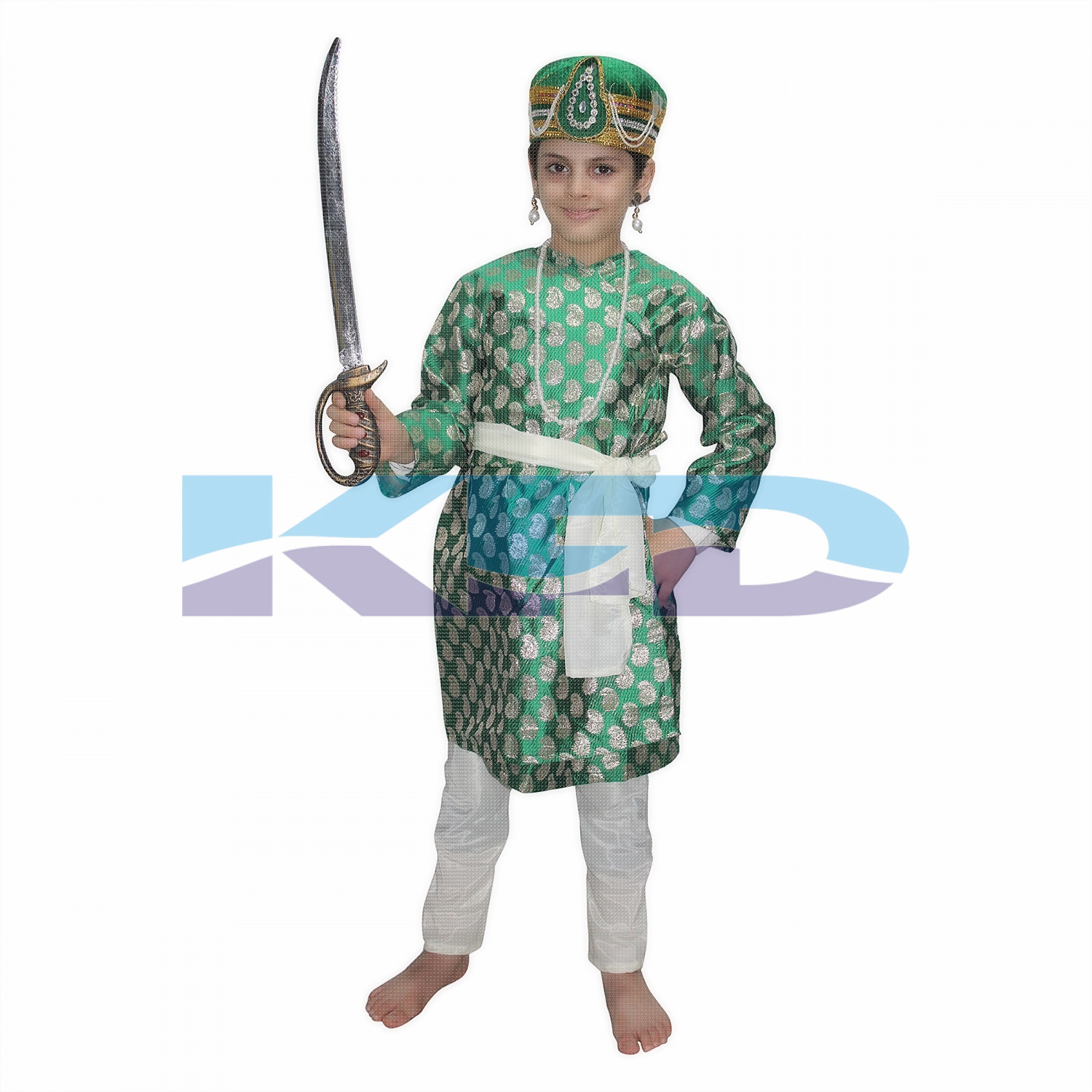 Akbar Green The Great Mughal King Costume For Kids,Costume of Indian Historical Character For School Annual function/Theme Party/Stage Shows/Competition/Birthday Party Dress