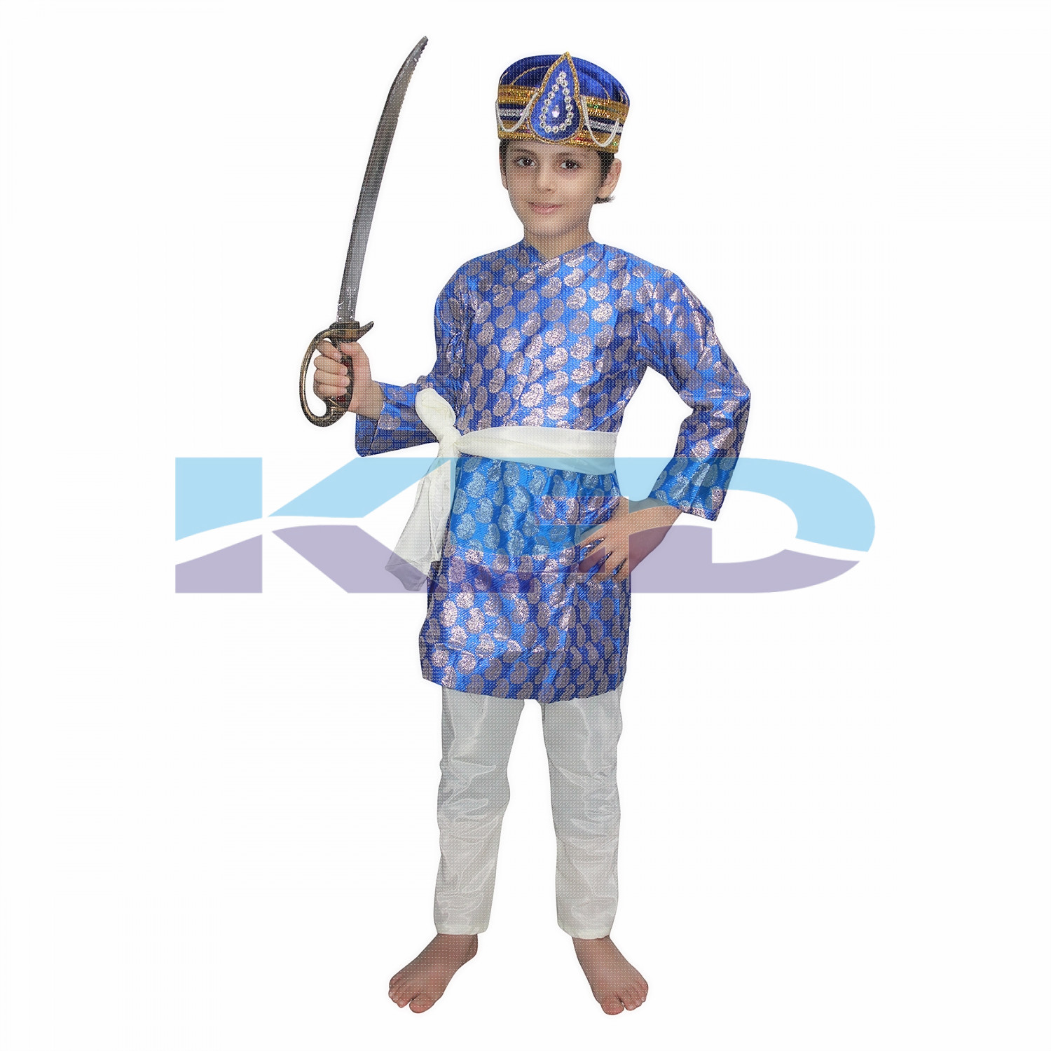 Akbar Blue The Great Mughal King Costume For Kids,Costume of Indian Historical Character For School Annual function/Theme Party/Stage Shows/Competition/Birthday Party Dress