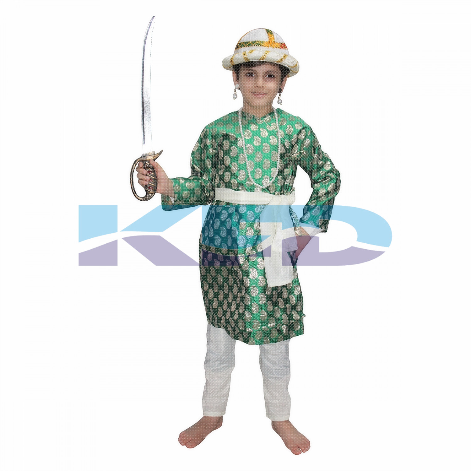 Tipu Sultan Green Costume For Kids,Indian Historical Character Costume For School Annual function/Theme Party/Stage Shows/Competition/Birthday Party Dress