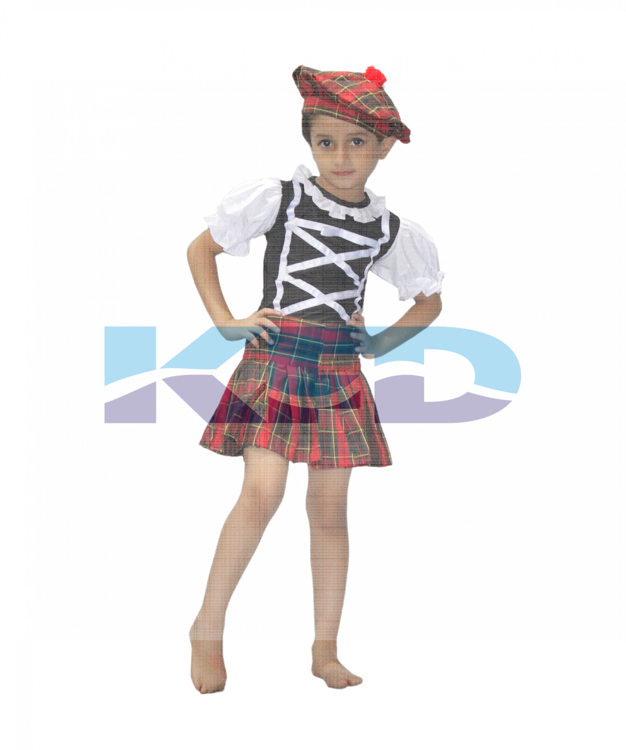 Scottish Girl/Traditional Costume/Tartan Costume For Girls/ Lassie Costume/Advnture Costume/School Annual function/Theme Party/Competition/Stage Shows Dress