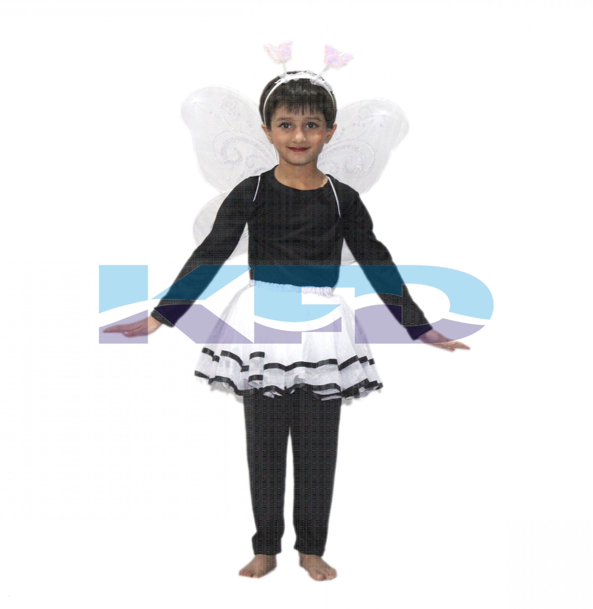 White Skirt With Butterfly Wings For kids/Bobra Toddler Fancy Dress/School Annual function/Theme Party/Competition/Stage Shows/Birthday Party Dress