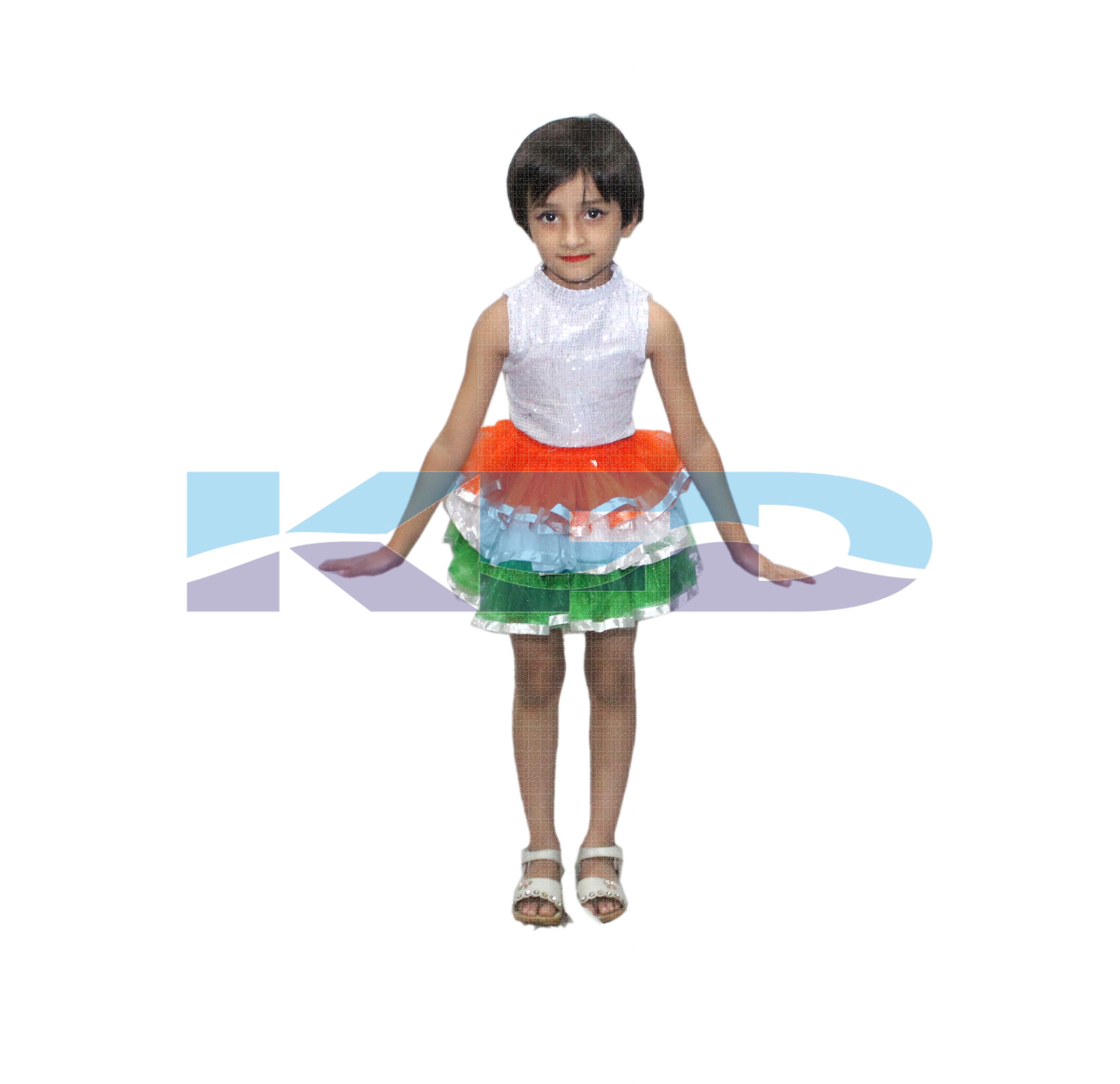 Tri Color Tu Tu Skirt Costume For Kids Western Dance/Independence Day Special/School Annual function/Theme Party/Competition/Stage Shows/Birthday Party Dress