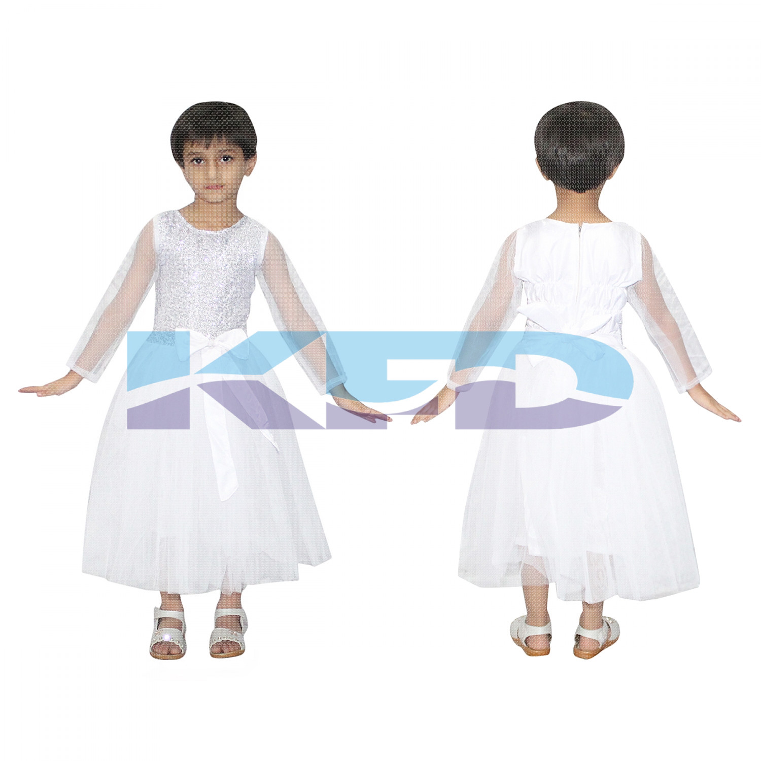 White Net Gown Fairy Tales Costume For School Annual function/Theme Party/Competition/Stage Shows/Birthday Party Dress