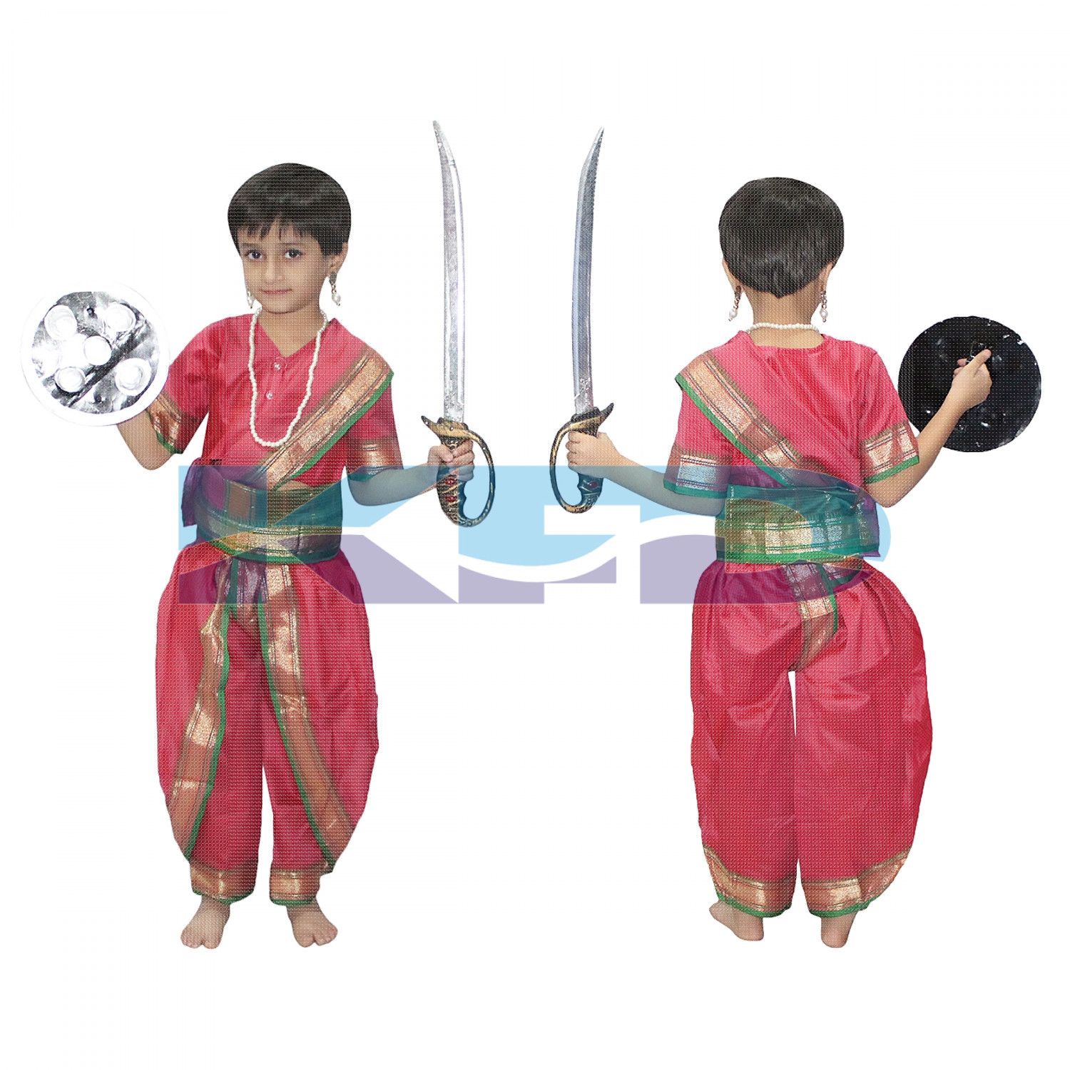 Rani Laxmi Bai fancy dress for kids,National Hero/freedom figter Costume for Independence Day/Republic Day/Annual function/theme party/Competition/Stage Shows Dress