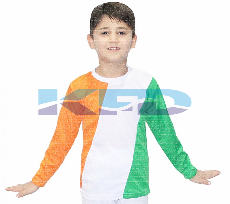 Tri Color T-shirt fancy dress for kids,Western Costume for Annual function/Theme Party/Competition/Stage Shows/Birthday Party Dress