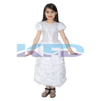 White LCD Gown,Fairy Tales Costume For School Annual function/Theme Party/Competition/Stage Shows/Birthday Party Dress