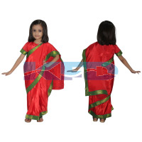 Teacher Saree In Red Color,Indian State Traditional Costume For School Annual function/Theme Party/Competition/Stage Shows/Birthday Party Dress
