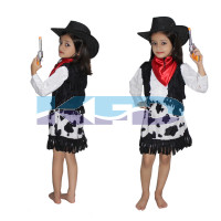Cow Girl Printed Costume,Horse Riding Costume for Annual function/Theme Party/Competition/Stage Shows/Birthday Party Dress