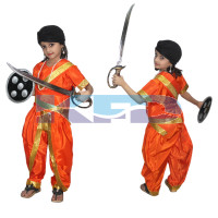 Rani Laxmi Bai Orange National Hero/freedom fighter Costume for Independence Day/Republic Day/Annual function/theme party/Competition/Stage Shows Dress