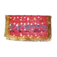 Mata Ki Chunari Full Size 2.25 Meter /Navratri Chunni/Devi Mata Full Jari Chunari/Chunar/Mata chunri/Durga Devi Chunni With Golden Embroidery And Lace,Used For Various Hindu Puja