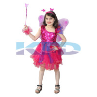 Magenta Butterfly Girl Insect Costume For Kids School Annual function/Theme Party/Competition/Stage Shows Dress