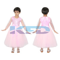 Pink Long Gown Net Fairy Tales Costume For School Annual function/Theme Party/Competition/Stage Shows/Birthday Party Dress